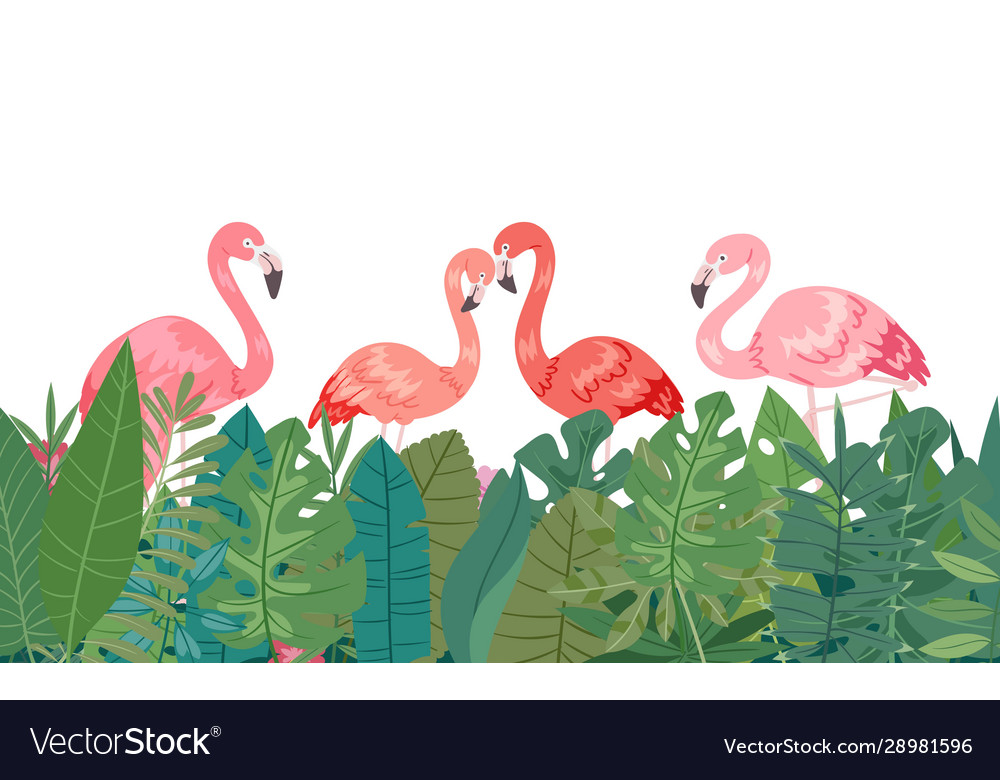 Flamingo in tropical paradise banner horizontal vector