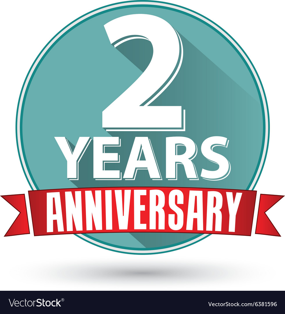 Flat design 2 years anniversary label with red