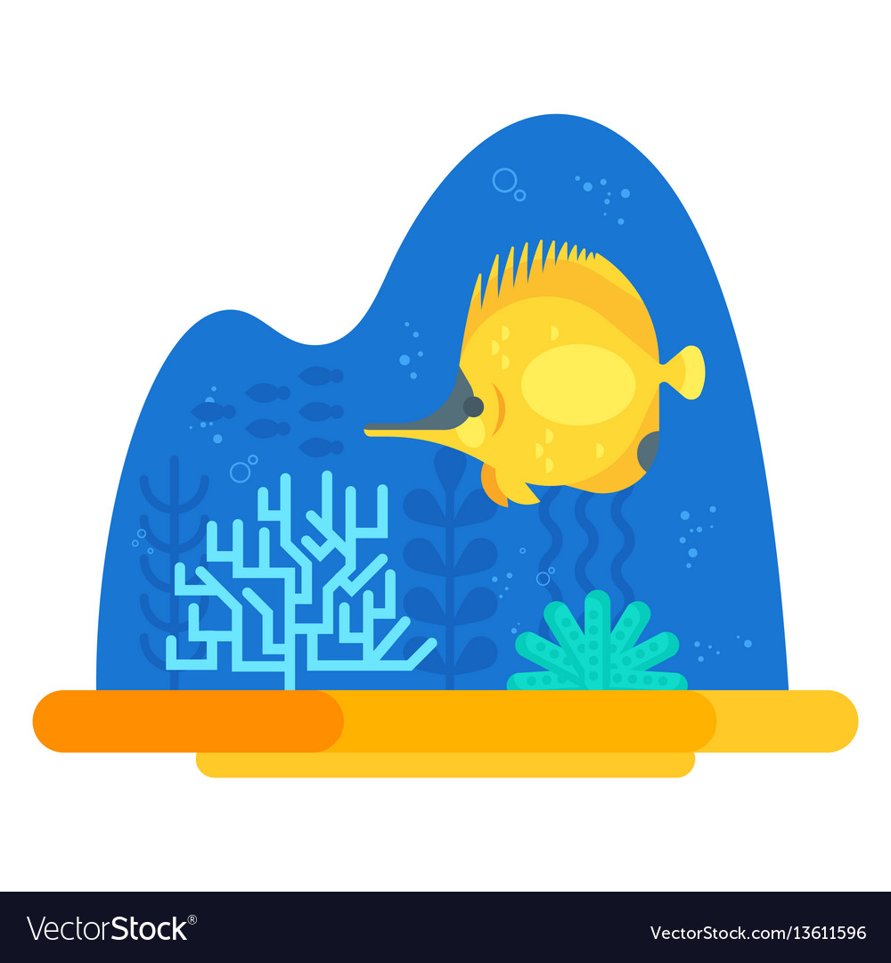 Flat style of coralreef vector image