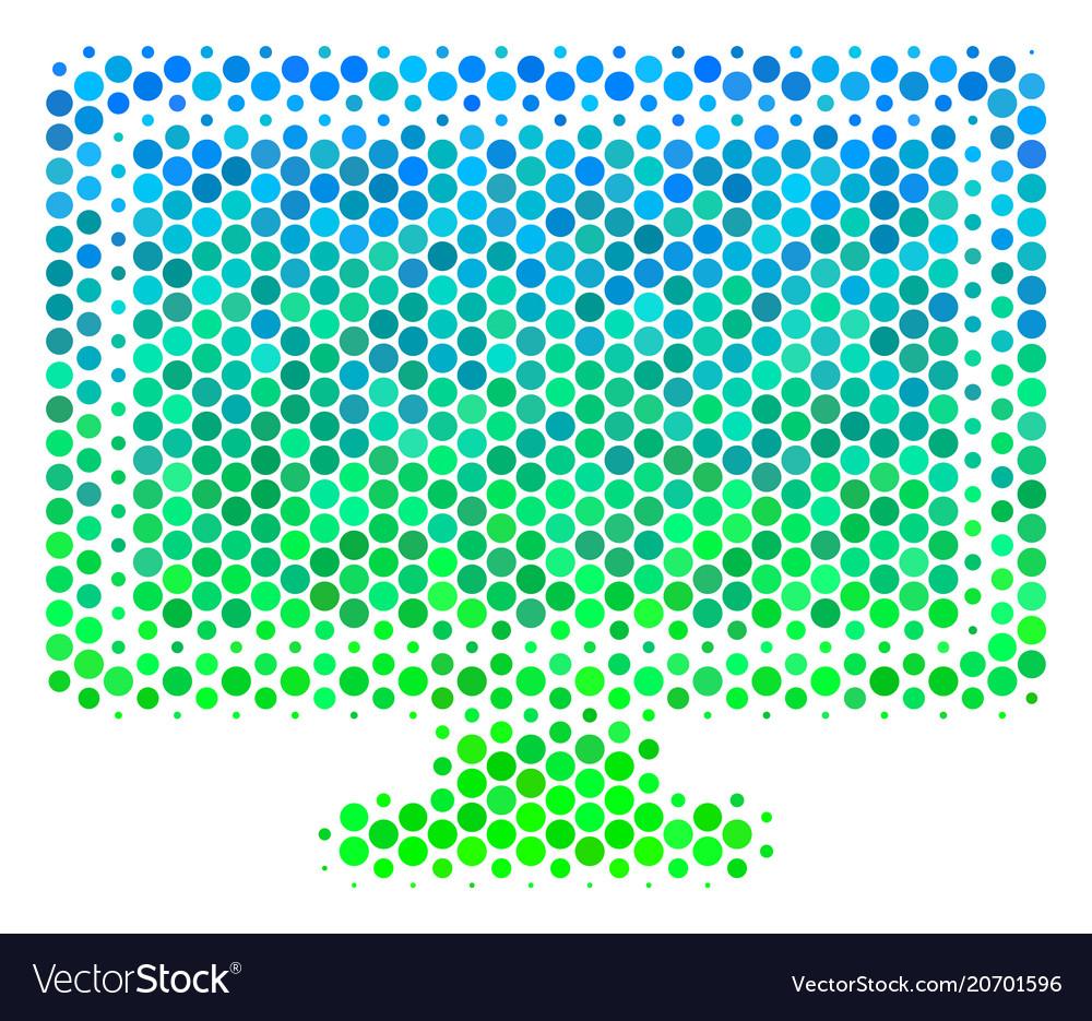 Halftone blue-green computer display icon