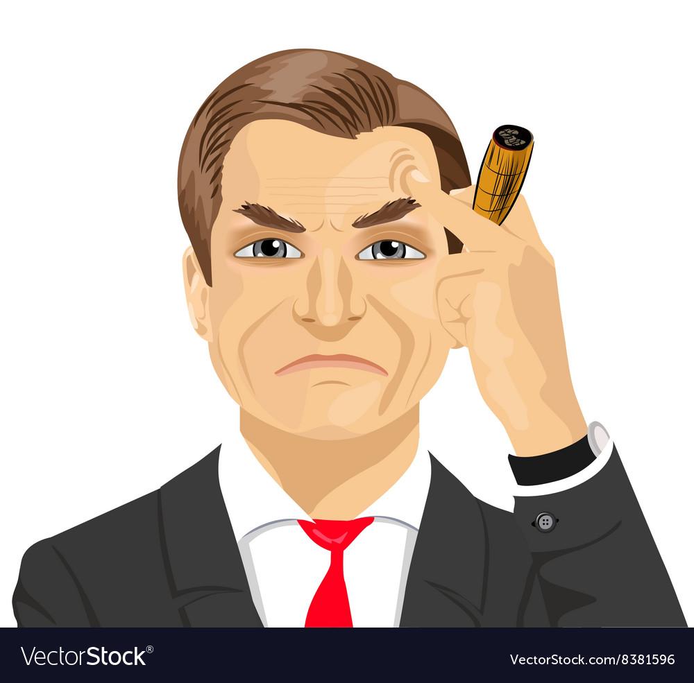 Haughty mature businessman smoking cigar