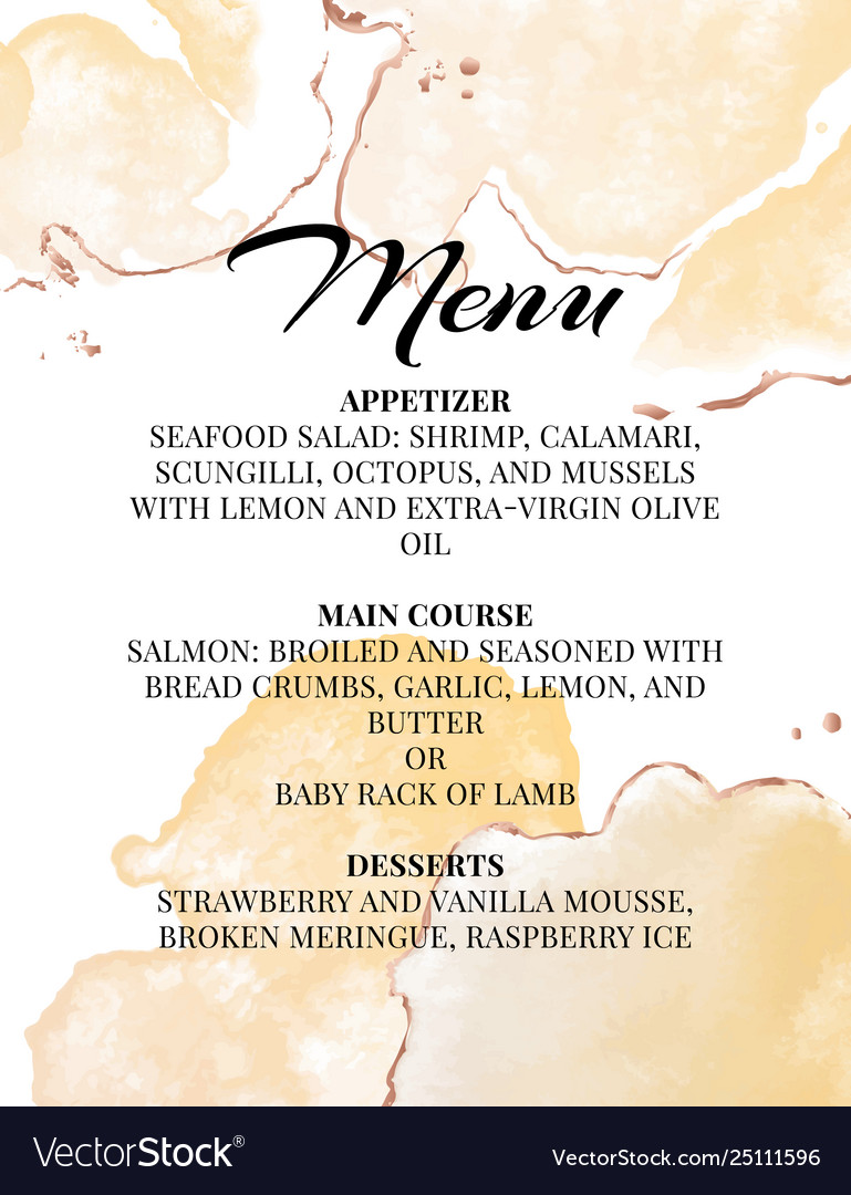Wedding Menu Template.Hend Drawn Wedding Menu Template Beautiful Tender