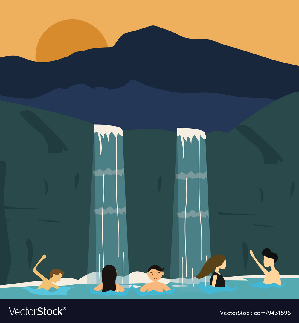 Peoples swim in waterfall boys and girls vector image