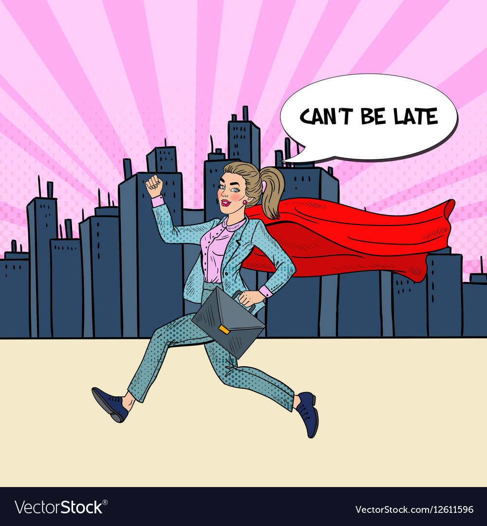 Pop Art Super Business Woman with Red Cape Running