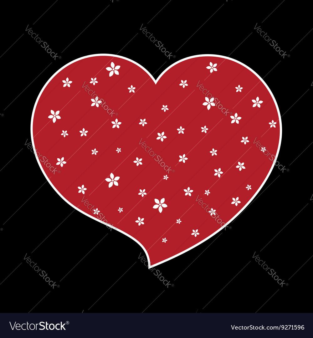 Red heart flower blossom icon black