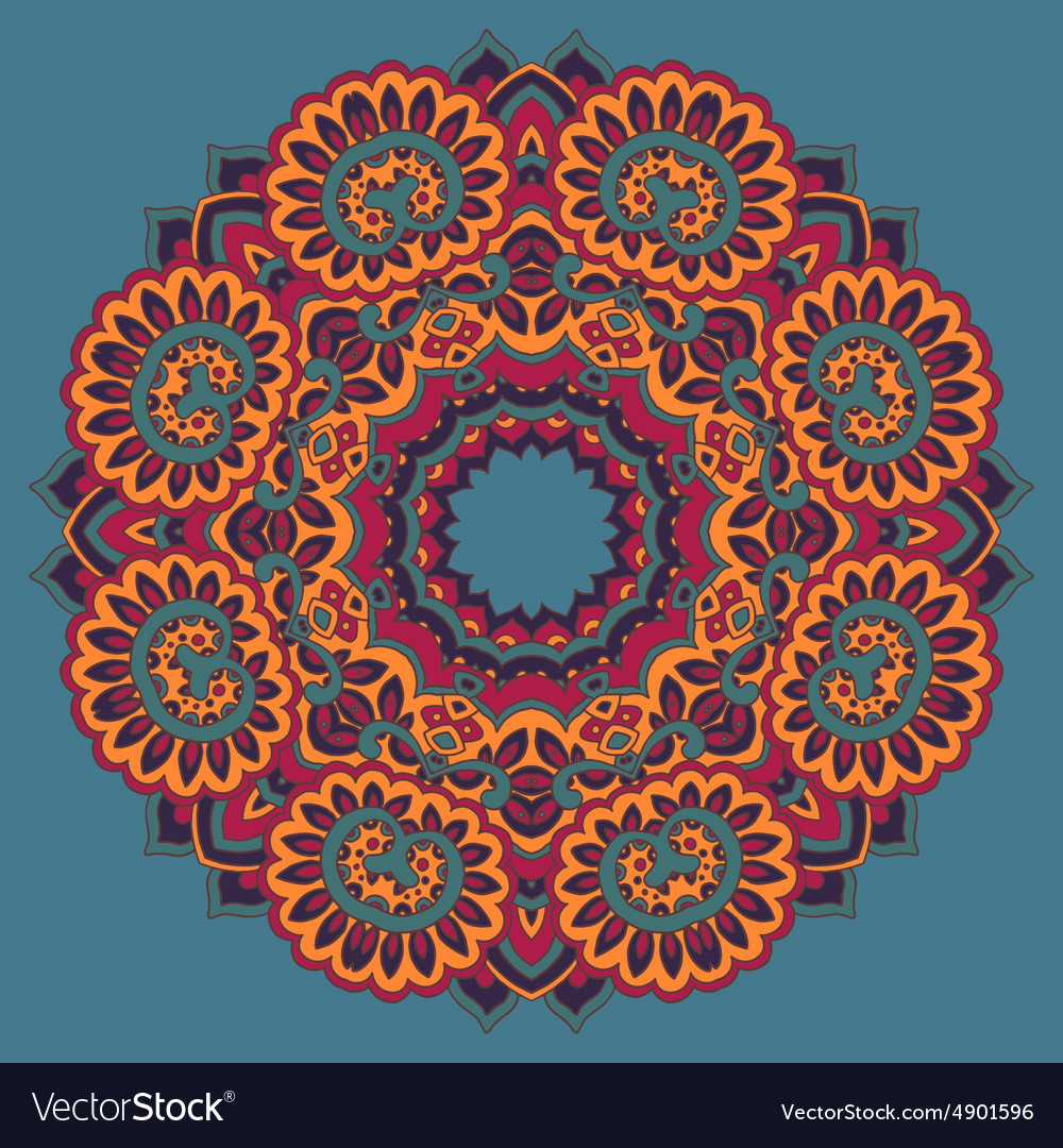 Round ornament pattern with floral decorative