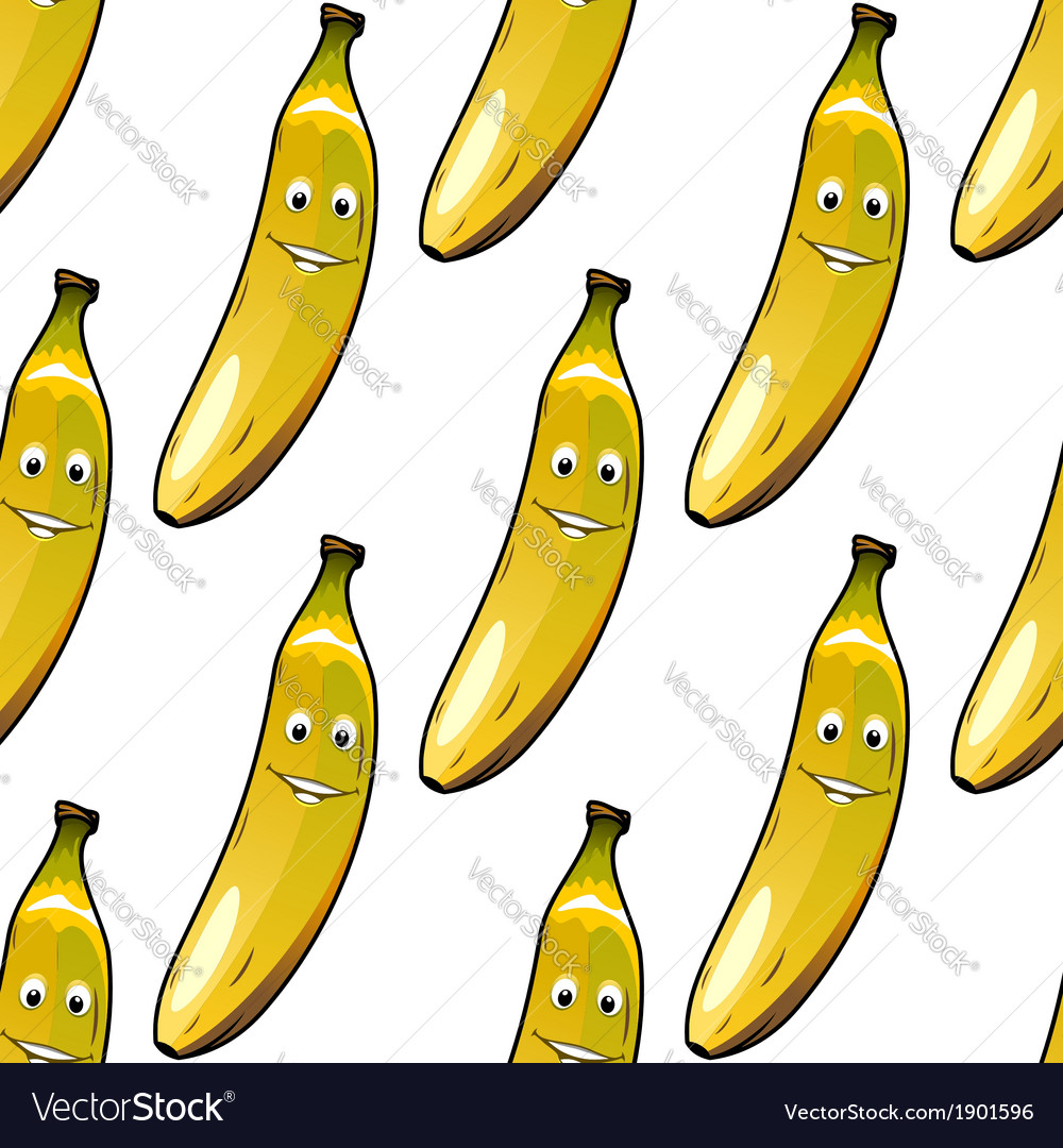 Seamless pattern of happy ripe yellow bananas vector image