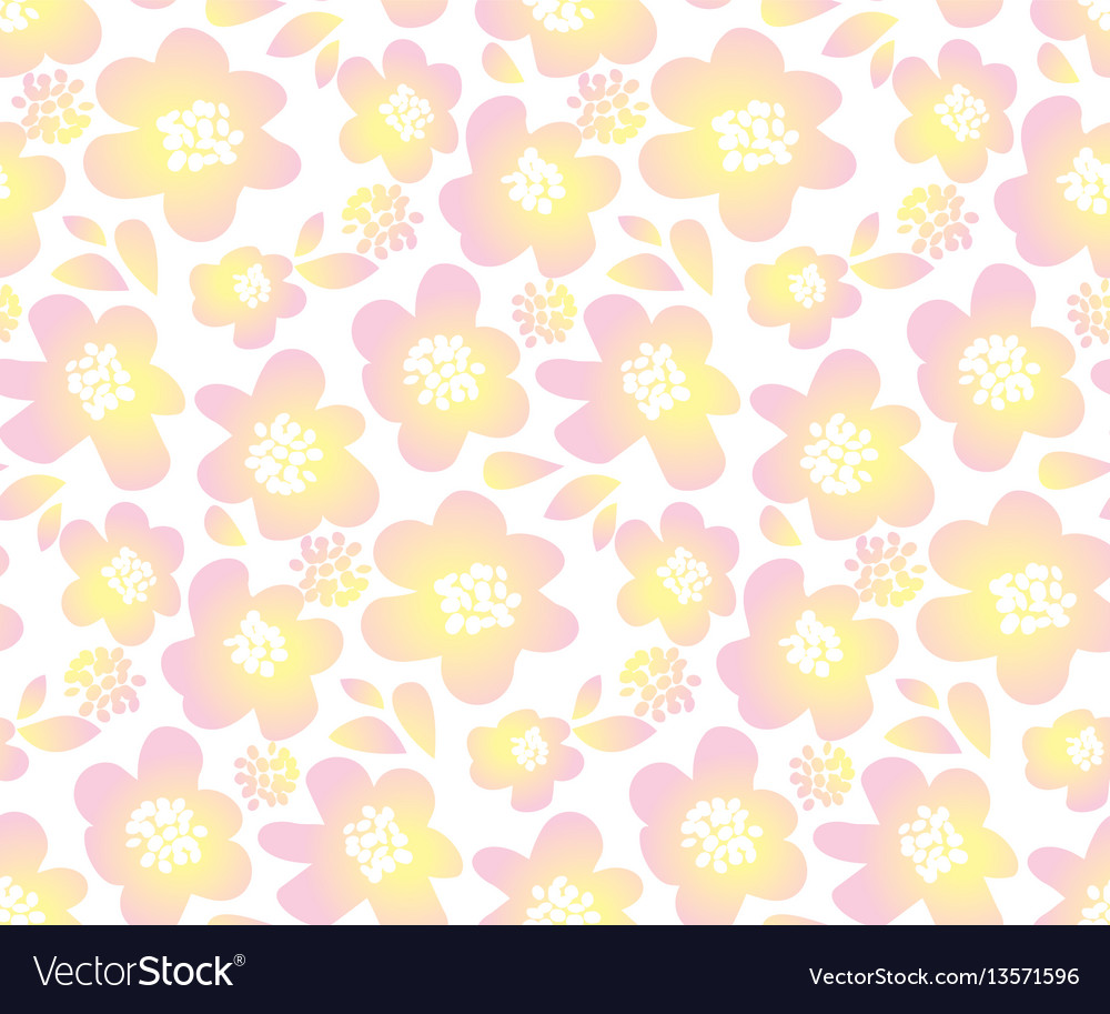 Tender color floral in retro 60s style abstract