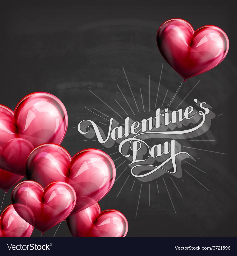 Valentines Day retro label on the blackboard