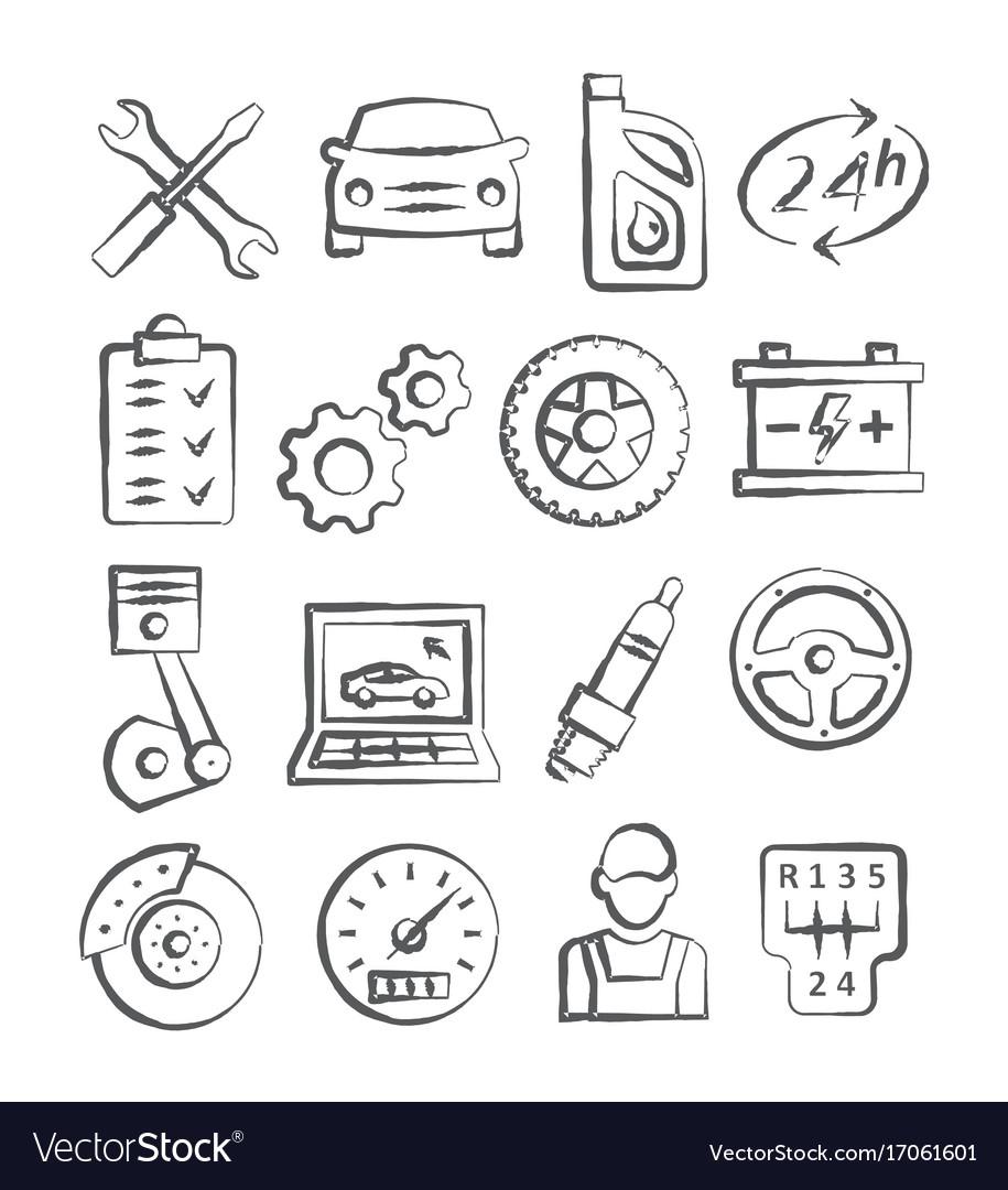 Auto service doodle icons