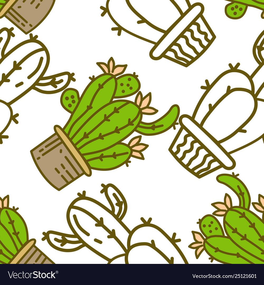 Cactus pattern seamless template