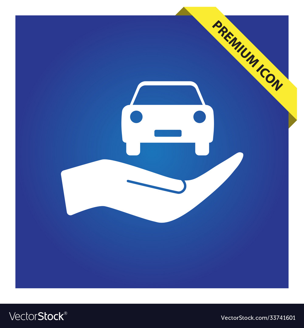 Car in hand icon