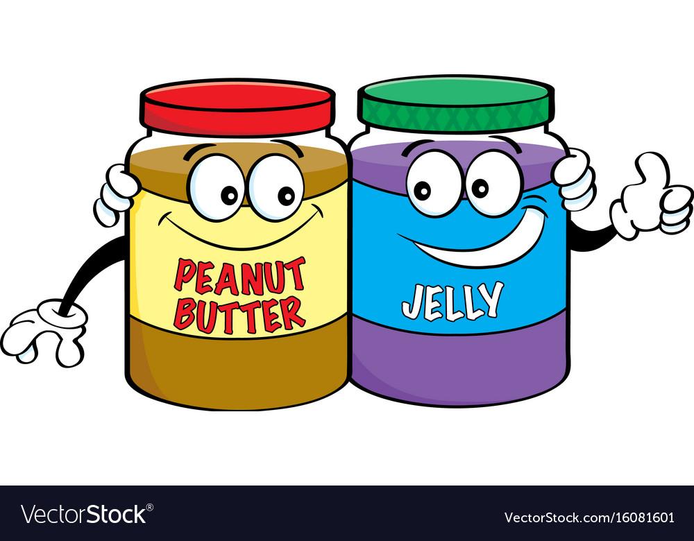 Cartoon peanut butter and jelly jars