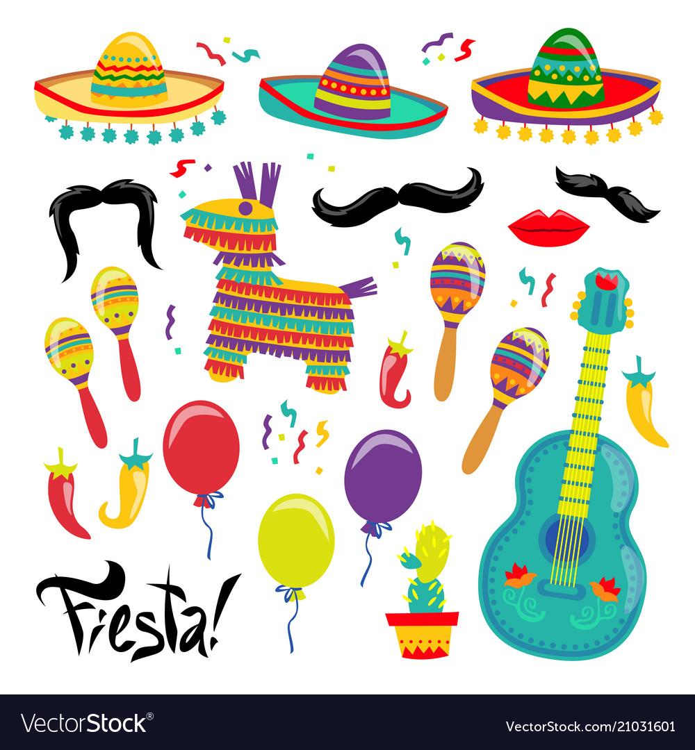 Cinco de mayo set of fiesta elements vector image