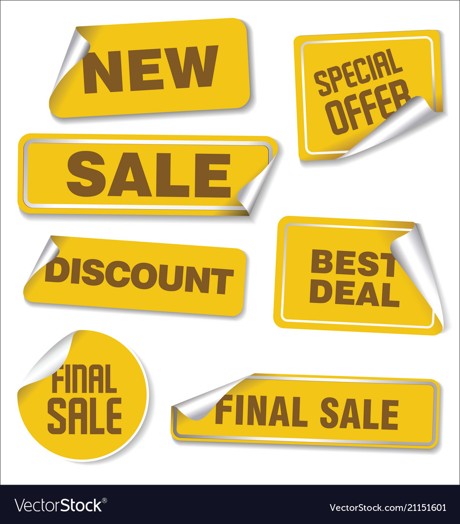 Collection of yellow sale stickers with rounded