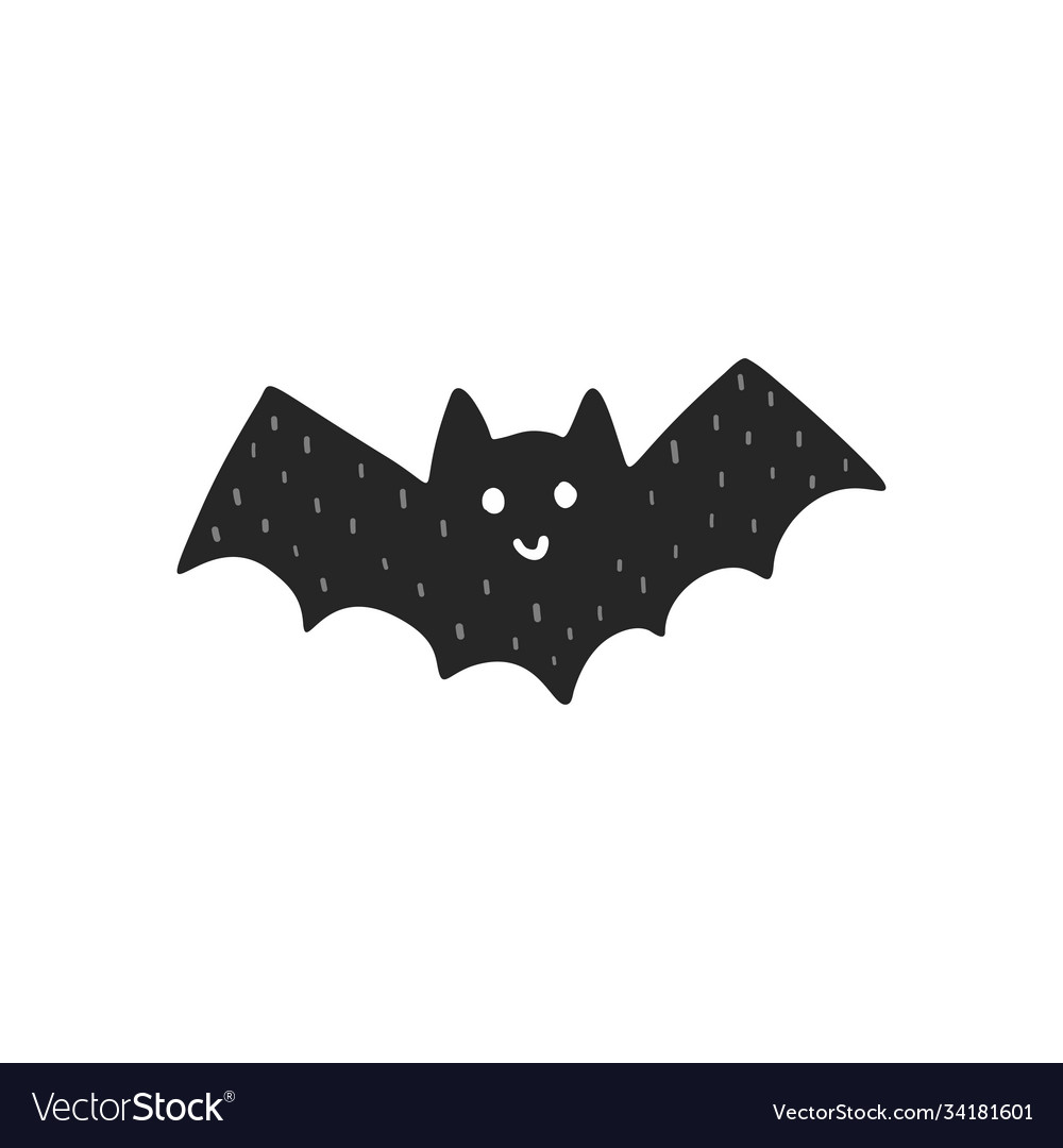 Cute flying black bat isolated element halloween
