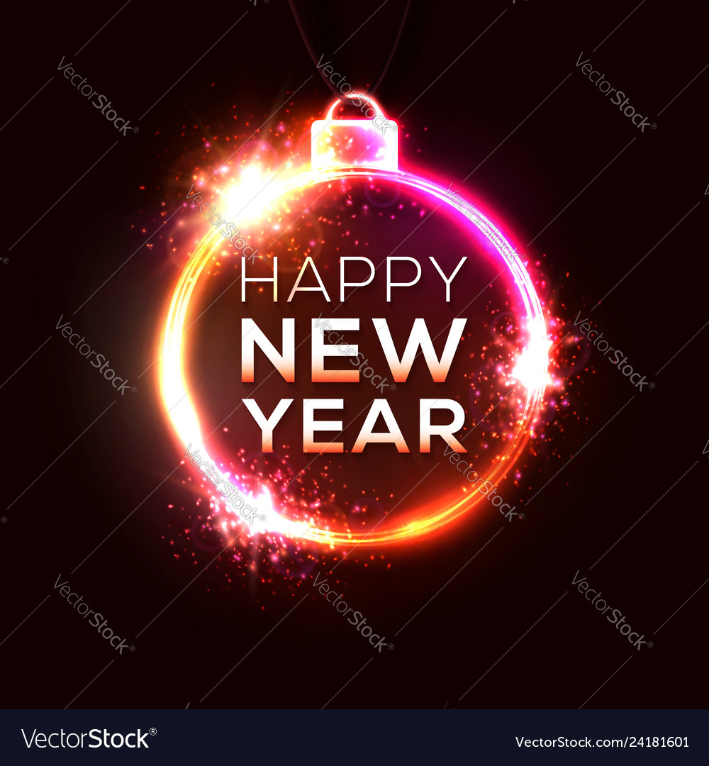 Happy new year electric technology background