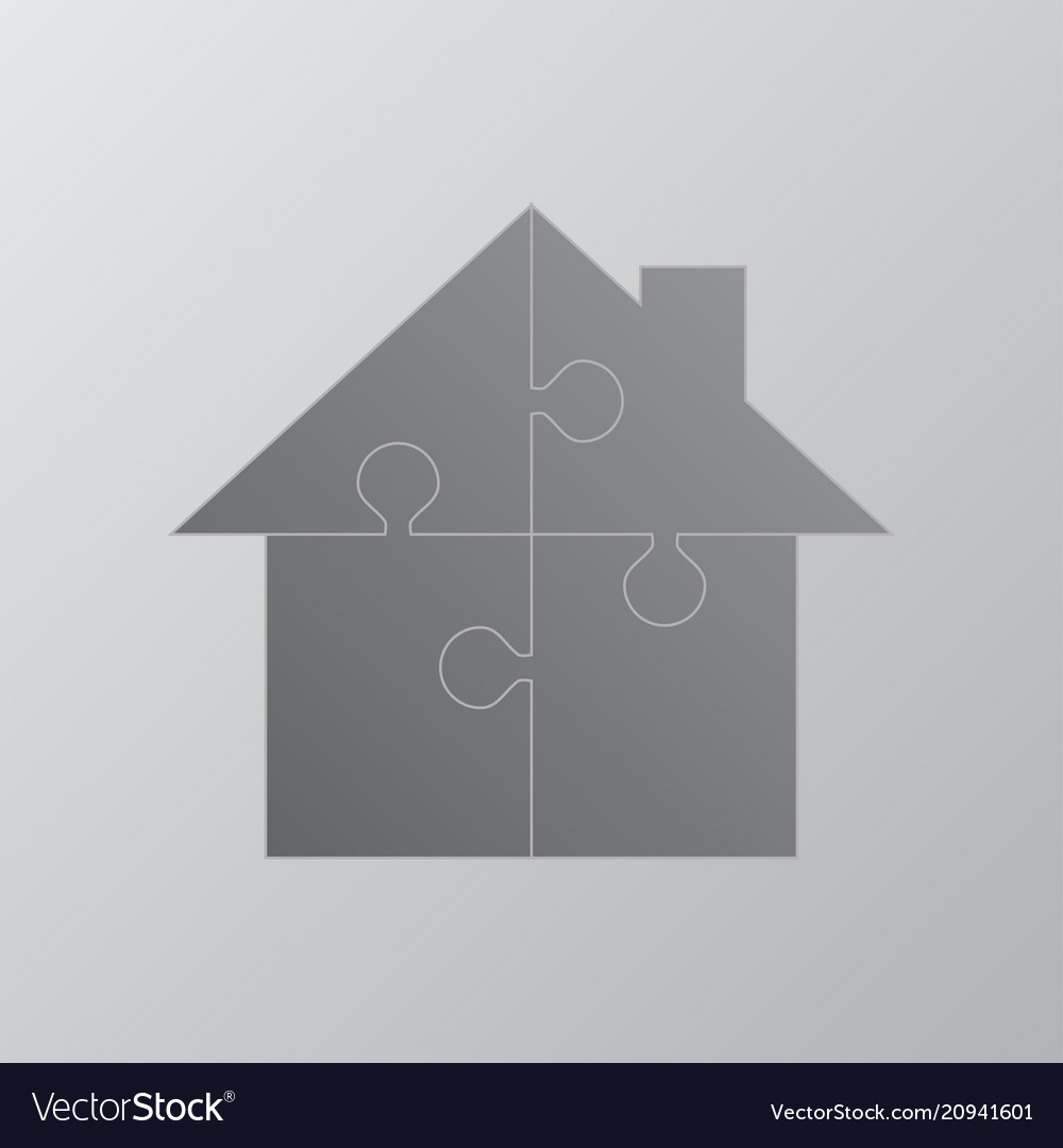 House Puzzle 4 Pieces Renting Leasing Vector Image