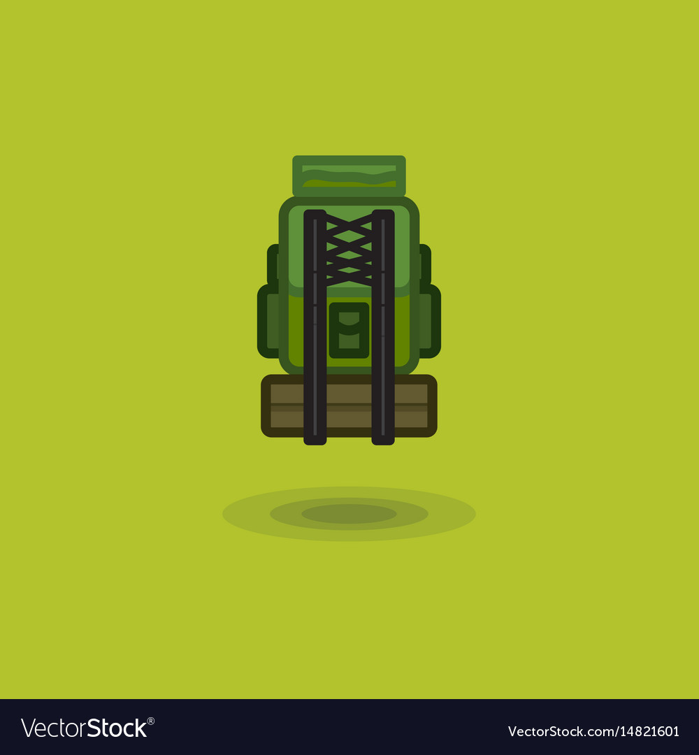 Icon tourist backpack isolated and camping