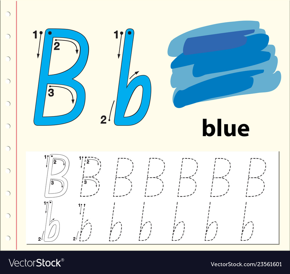 - Letter B Tracing Alphabet Worksheets Royalty Free Vector