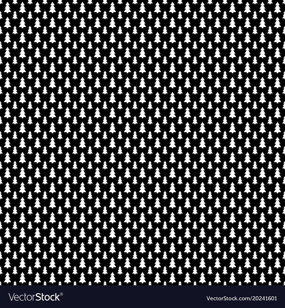Monochrome repeating stylized pine tree pattern