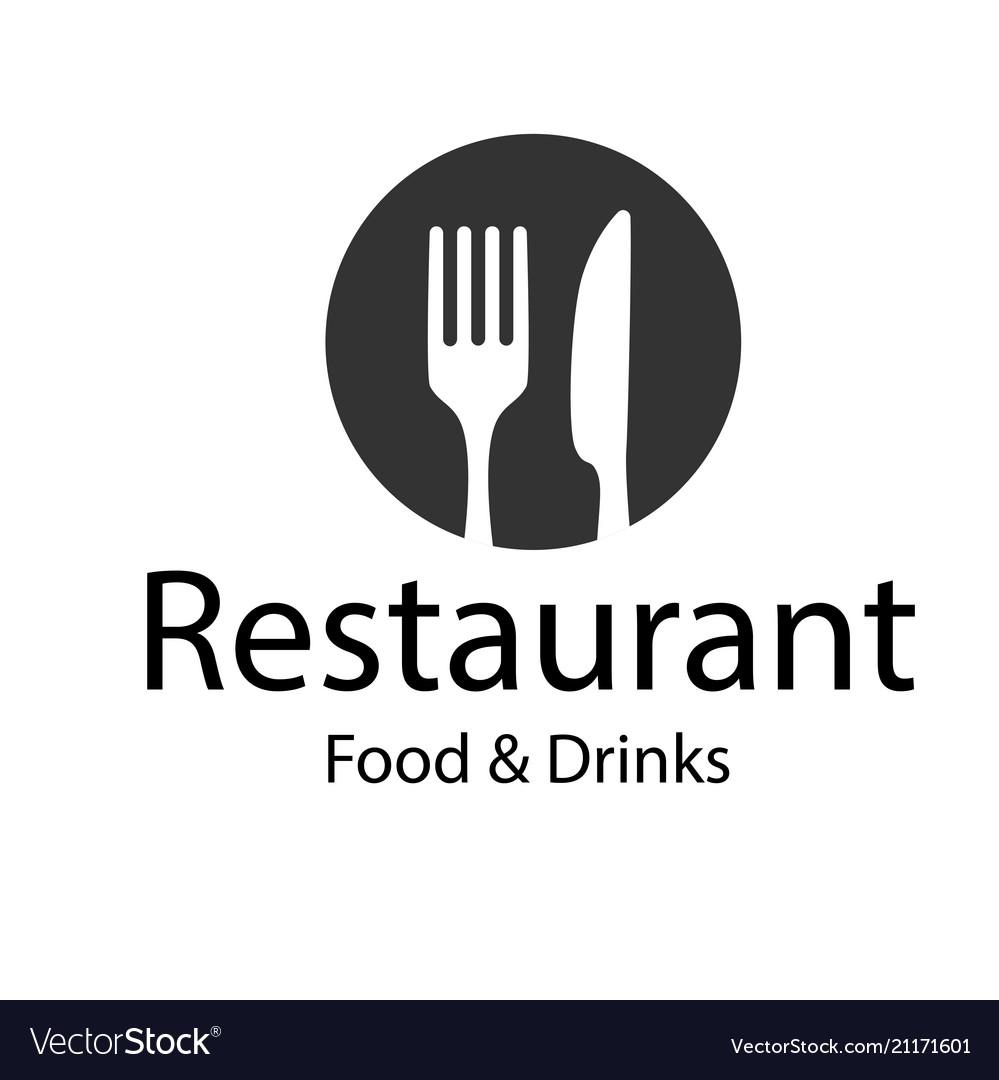 Restaurant food drinks logo fork knife backgroun