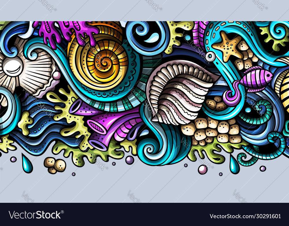 Sea life hand drawn doodle banner cartoon