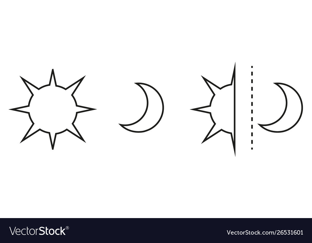 Sun and moon flat icon sign sun and moon logo for