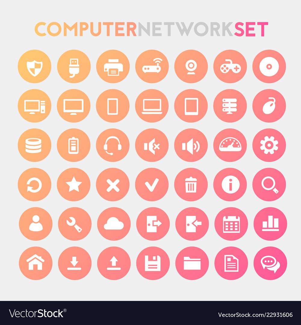 Big computer networks flat trendy icon set