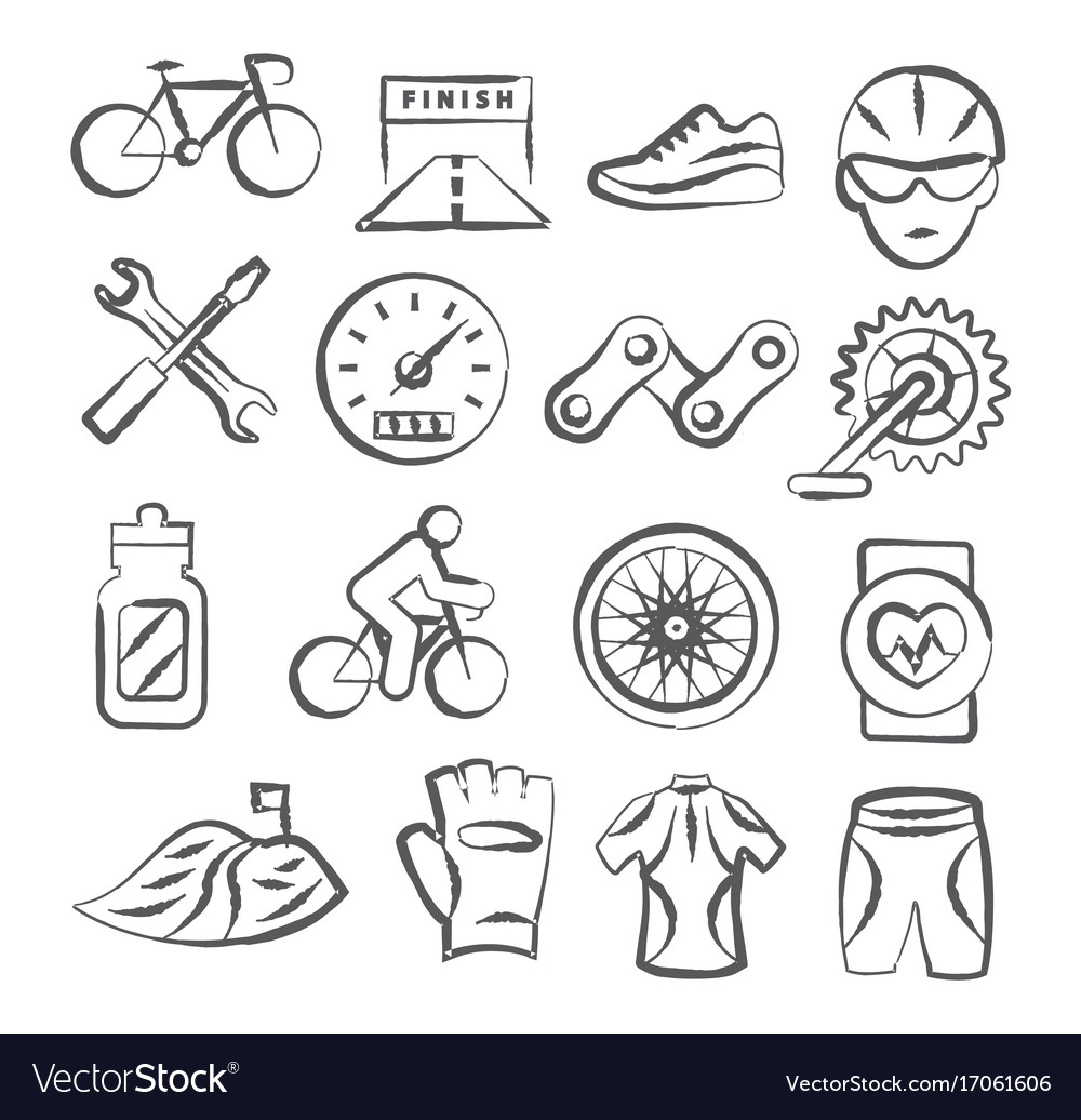 Biking doodle icons