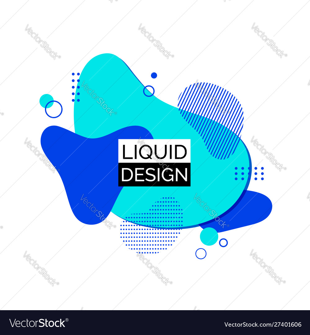 Blue liquid shapes abstract trendy fluid