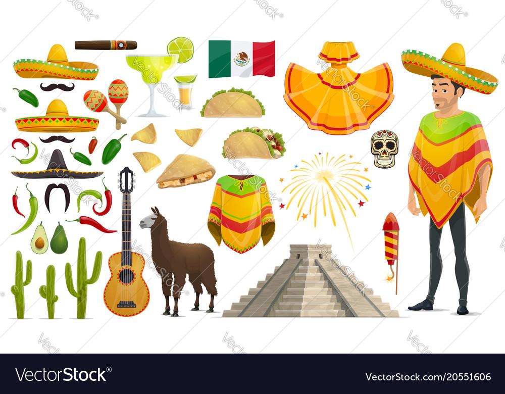 Cinco de mayo mexican holiday icons