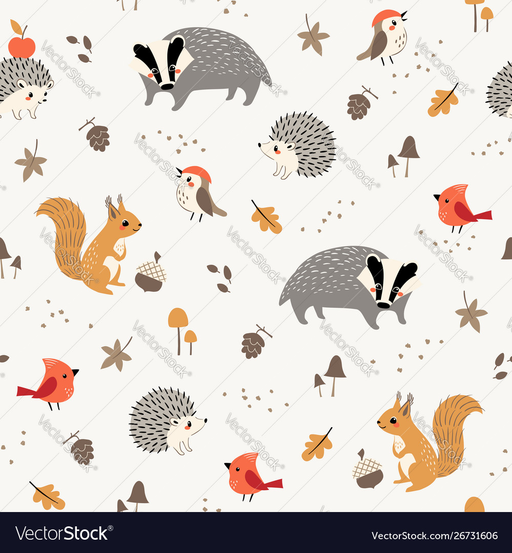 Cute little woodland animals and birds pattern
