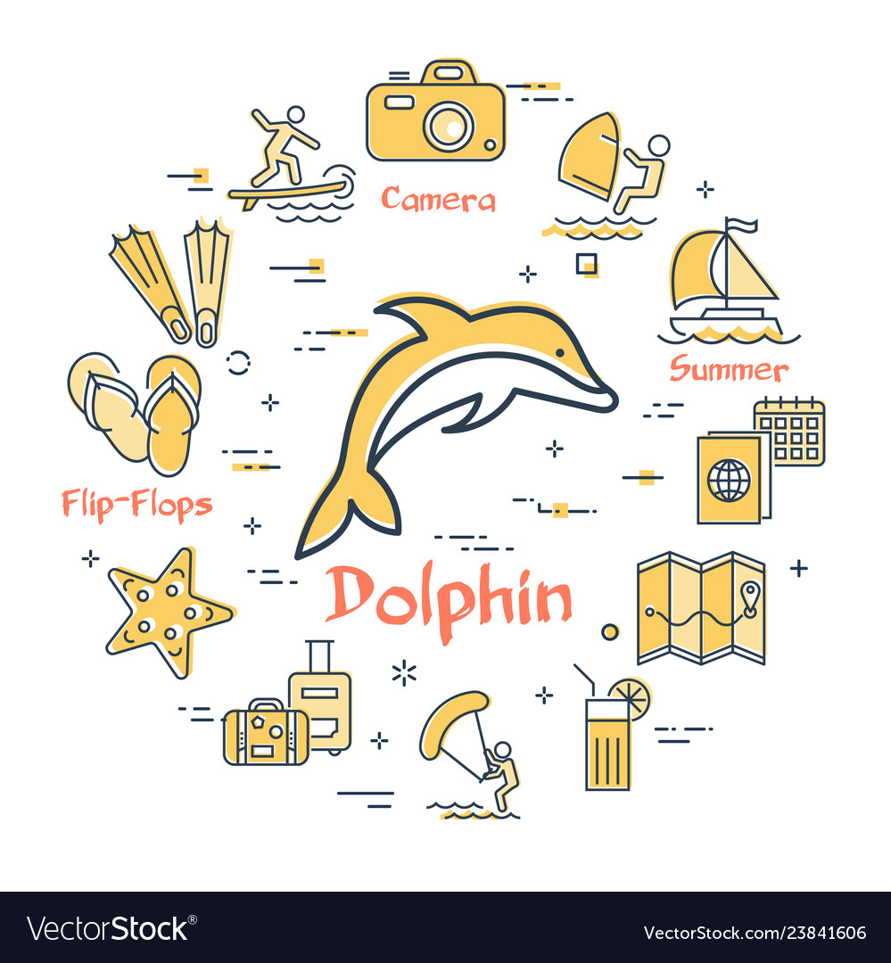 Dolphin and summer time vacation icons
