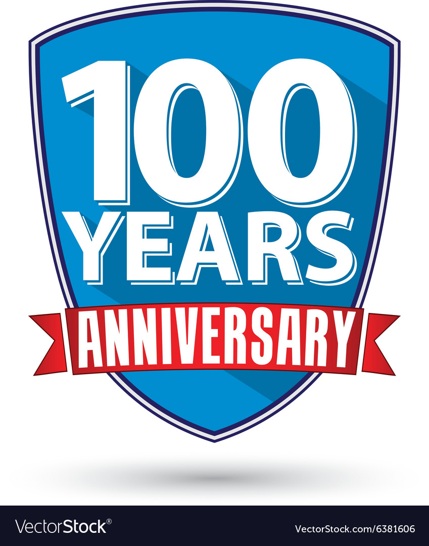 Flat design 100 years anniversary label with red