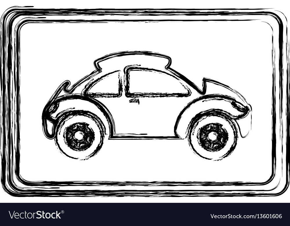 Monochrome sketch with sports car in square frame Vector Image