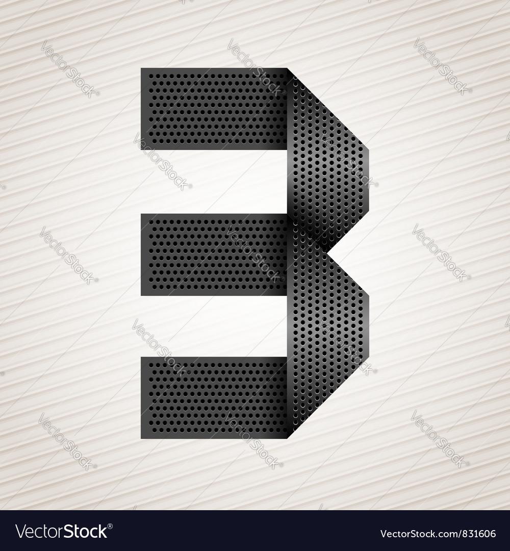 Number metal ribbon - 3 - three vector image