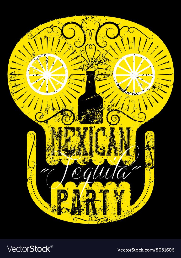 Retro grunge Mexican Tequila Party poster vector image