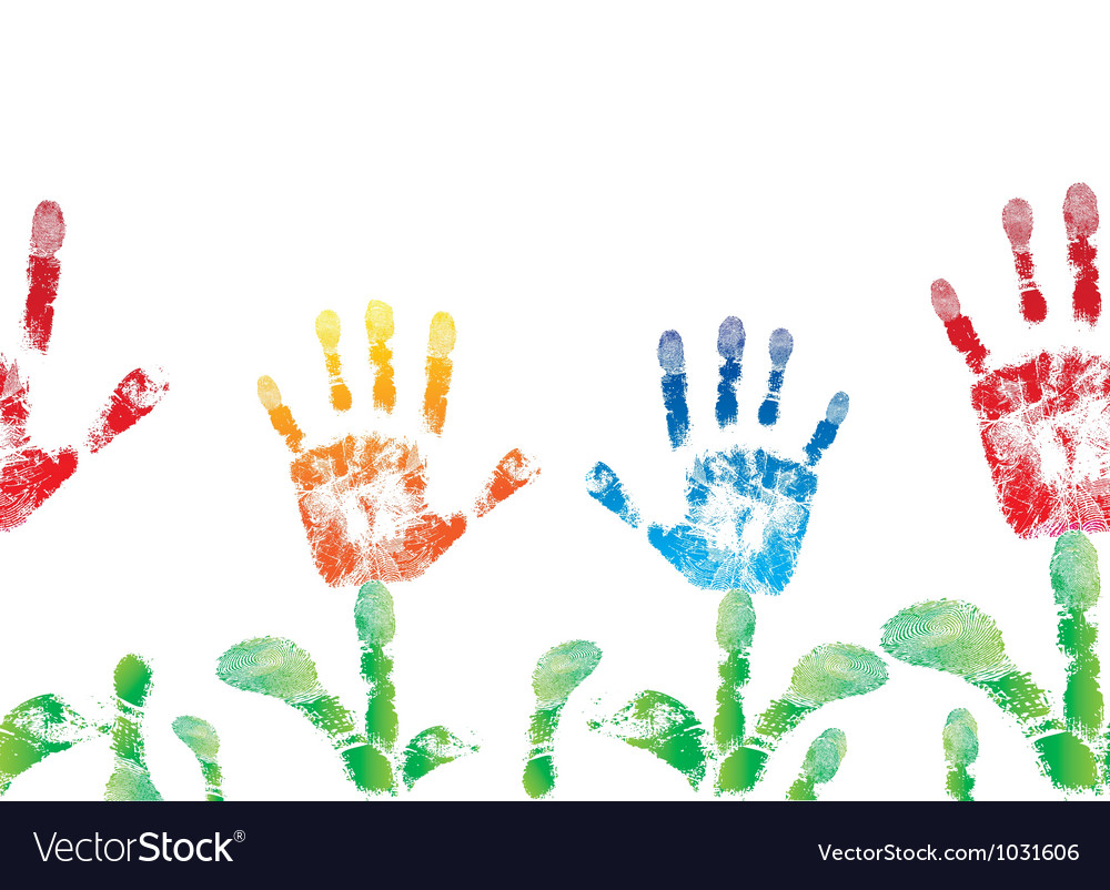 Seamless palm print flower of hand vector image
