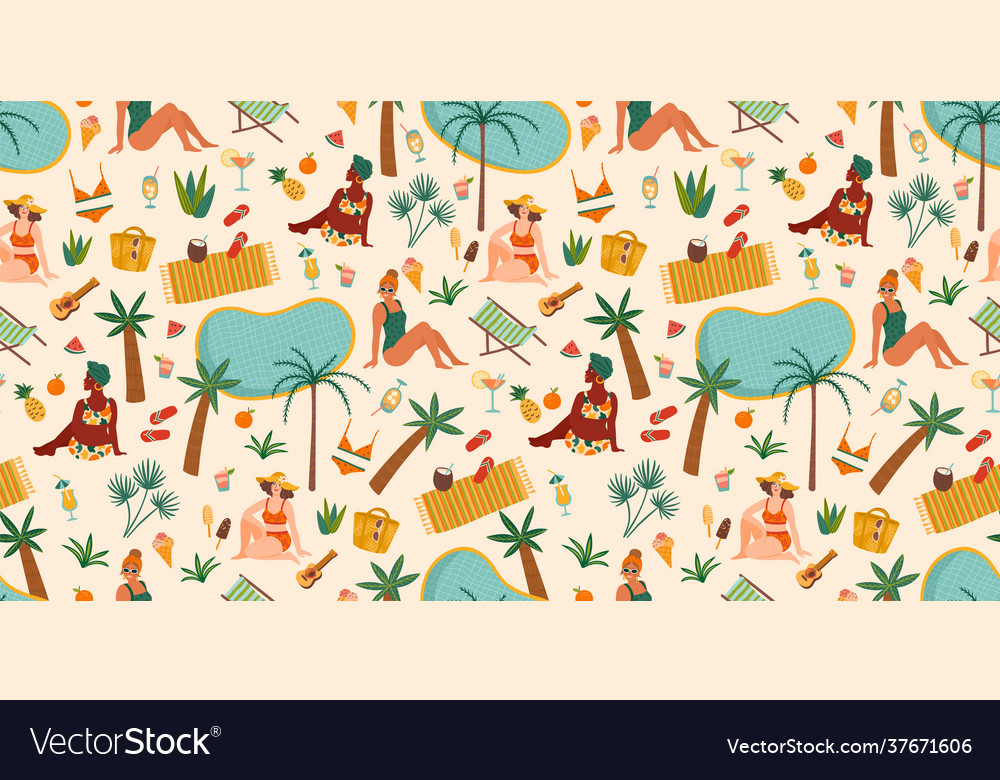 Seamless pattern with women in swimsuit on