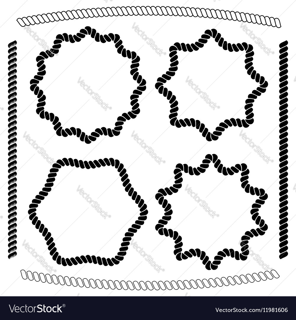 Set of frames hexagonal and rounded imitating rope