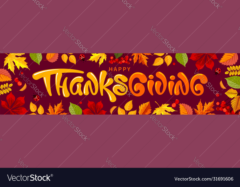 Thanksgiving greeting banner template vector