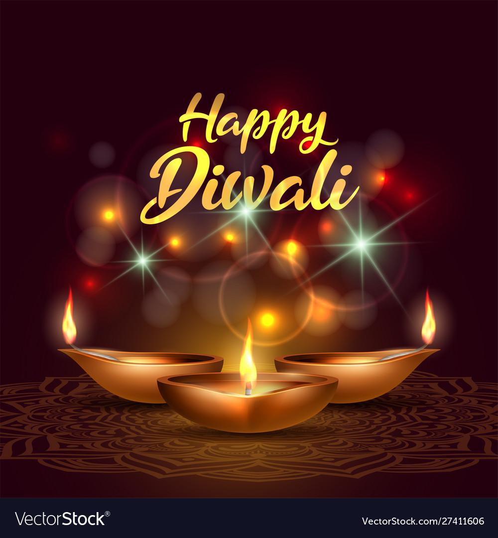 Three burning diya on happy diwali holiday on dark