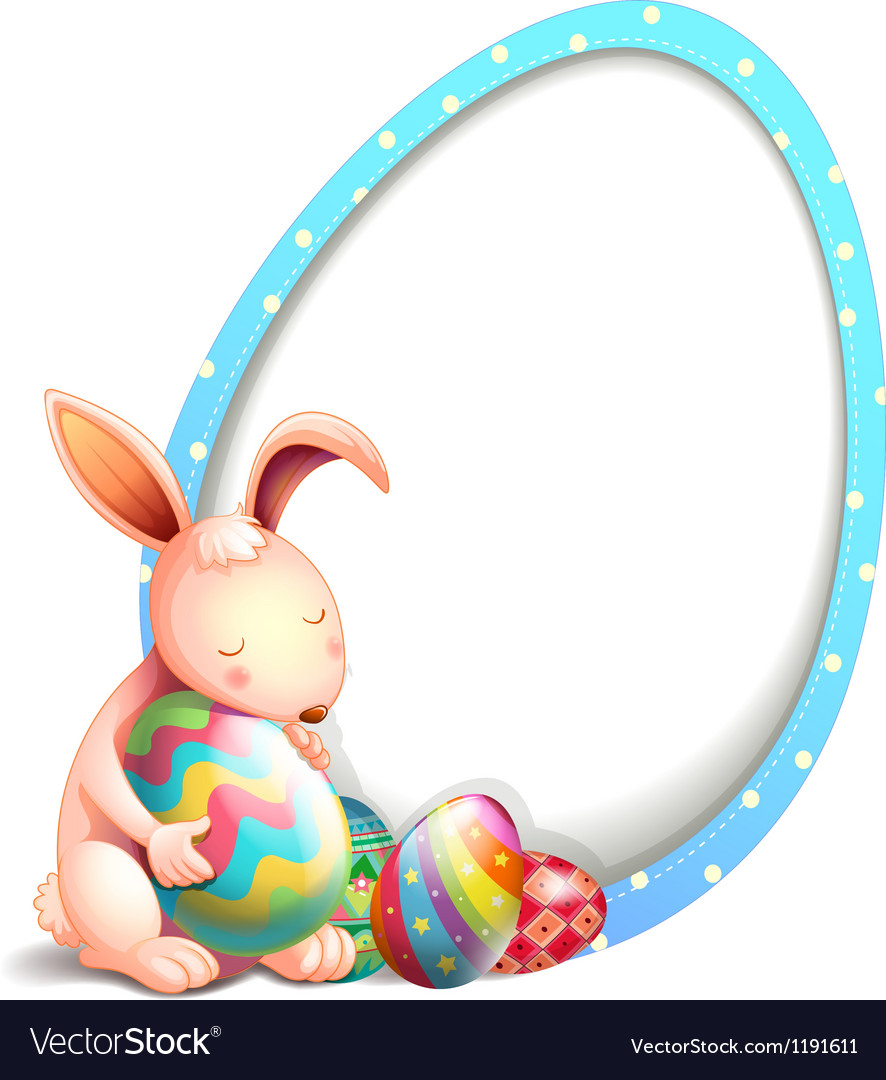 A rabbit with easter eggs beside an egg-shaped