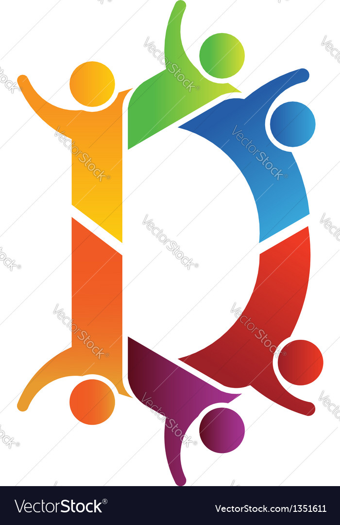 Alphabet Teamwork Letter D vector image