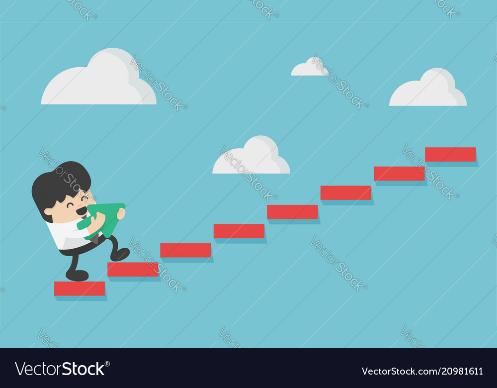 Concept business person stepping up a staircase vector image