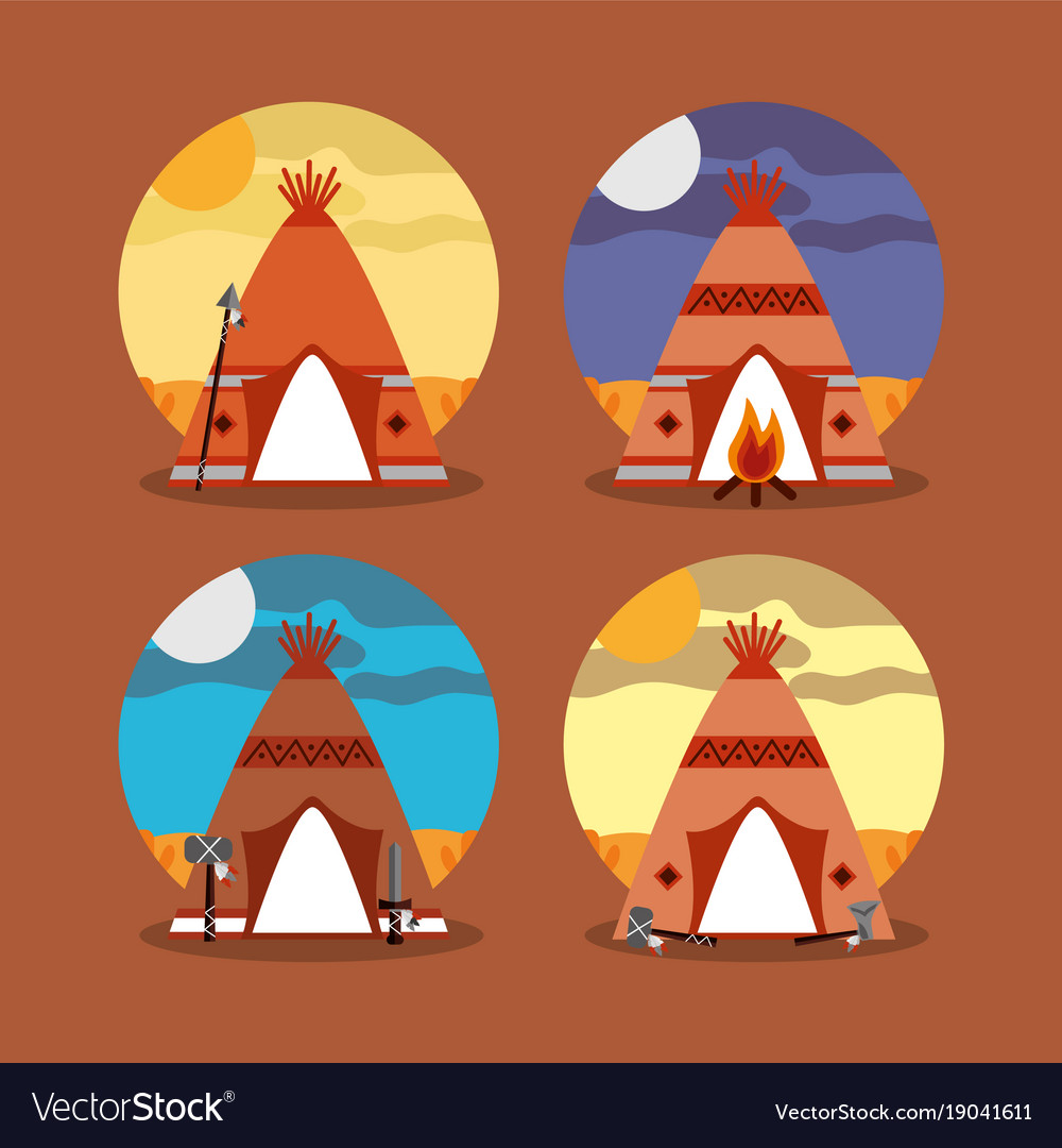 Four teepee home native american with landscape