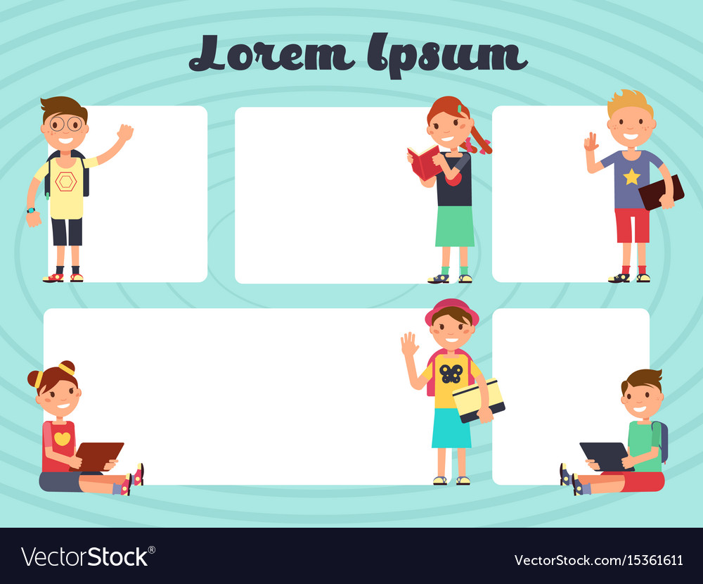 Fun frames kids layout texting brochure Royalty Free Vector