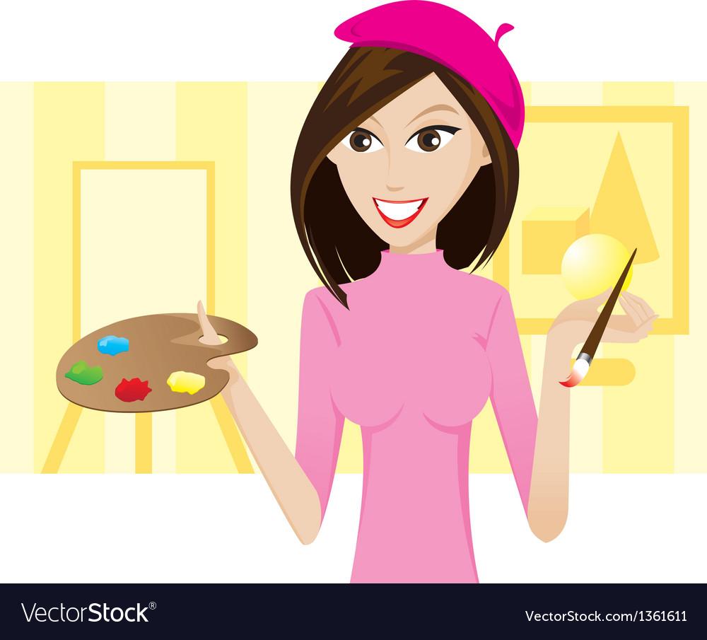 Girl artist vector image