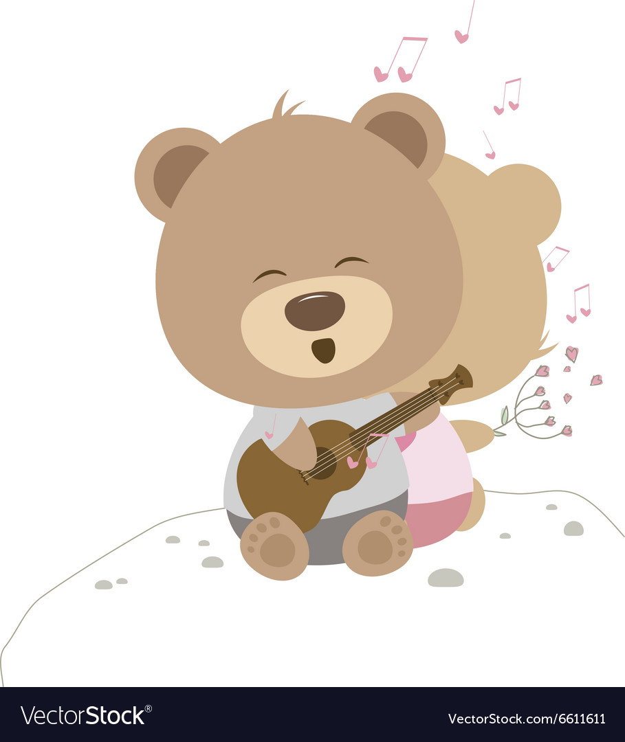 Love concept of couple teddy bear doll sing a song